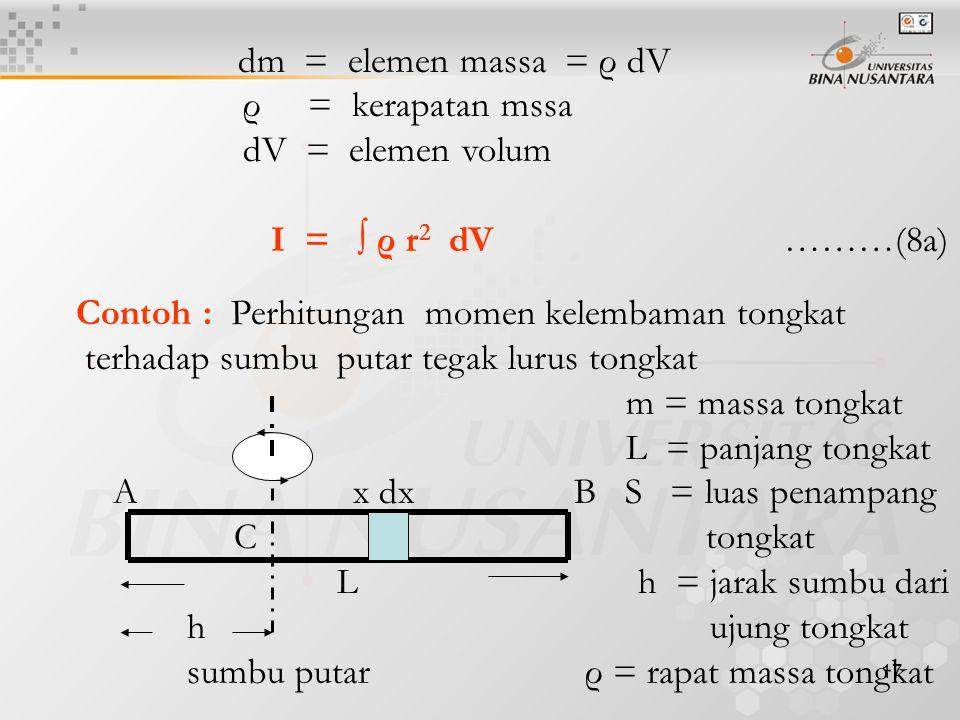 17 dm = elemen massa = ρ dV ρ = kerapatan mssa dV = elemen volum I = ∫ ρ r 2 dV ………(8a) Contoh : Perhitungan momen kelembaman tongkat terhadap sumbu p
