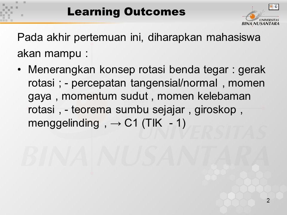 2 Learning Outcomes Pada akhir pertemuan ini, diharapkan mahasiswa akan mampu : •Menerangkan konsep rotasi benda tegar : gerak rotasi ; - percepatan t