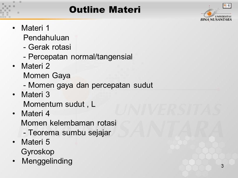 3 Outline Materi •Materi 1 Pendahuluan - Gerak rotasi - Percepatan normal/tangensial •Materi 2 Momen Gaya - Momen gaya dan percepatan sudut •Materi 3