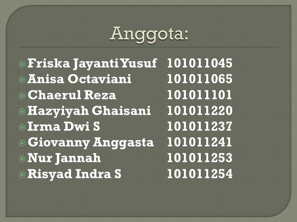  Friska Jayanti Yusuf 101011045  Anisa Octaviani 101011065  Chaerul Reza 101011101  Hazyiyah Ghaisani 101011220  Irma Dwi S101011237  Giovanny A