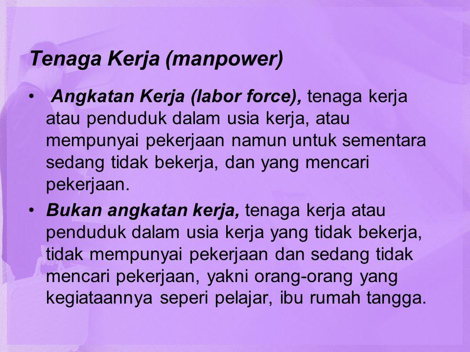 Tenaga Kerja (manpower) • Angkatan Kerja (labor force), tenaga kerja atau penduduk dalam usia kerja, atau mempunyai pekerjaan namun untuk sementara se