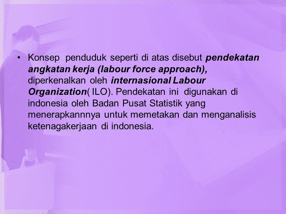 •Konsep penduduk seperti di atas disebut pendekatan angkatan kerja (labour force approach), diperkenalkan oleh internasional Labour Organization( ILO)
