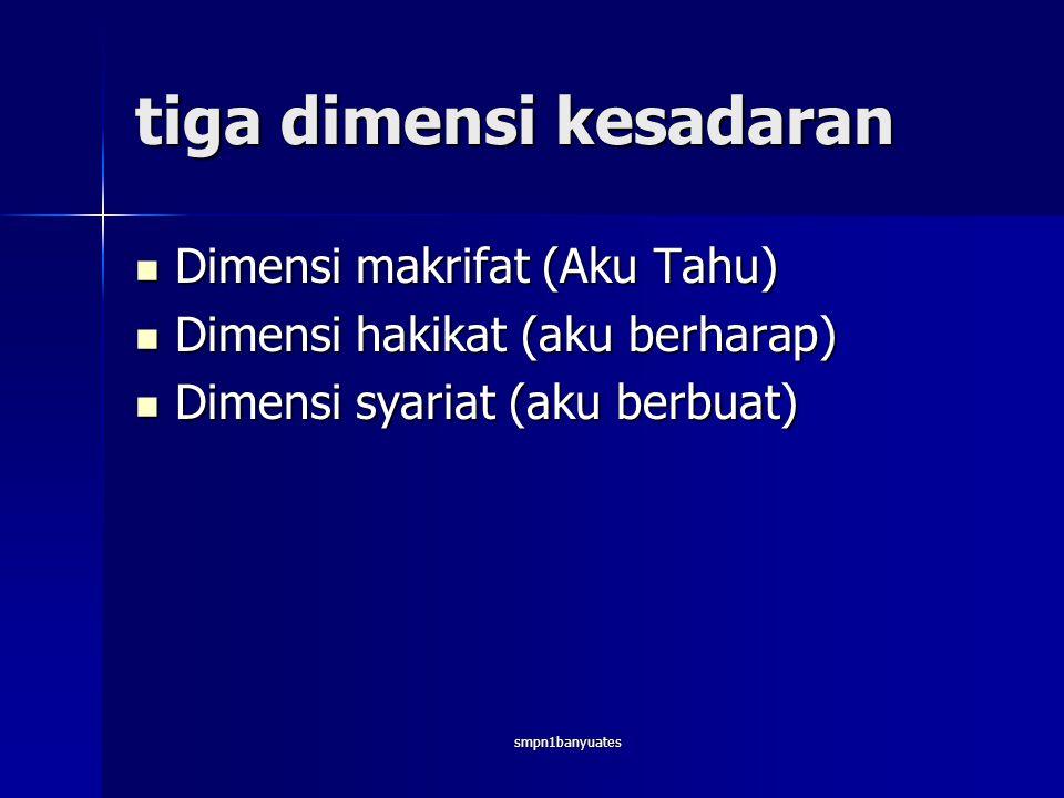 smpn1banyuates tiga dimensi kesadaran  Dimensi makrifat (Aku Tahu)  Dimensi hakikat (aku berharap)  Dimensi syariat (aku berbuat)