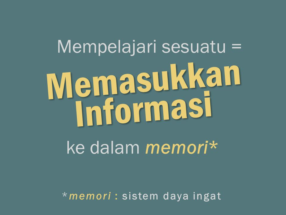 Memasukkan Mempelajari sesuatu = ke dalam memori* Informasi *memori : sistem daya ingat