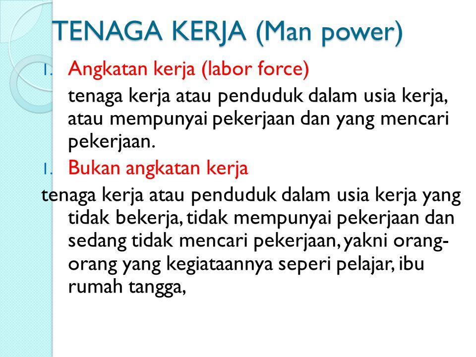 TENAGA KERJA (Man power) 1. Angkatan kerja (labor force) tenaga kerja atau penduduk dalam usia kerja, atau mempunyai pekerjaan dan yang mencari pekerj
