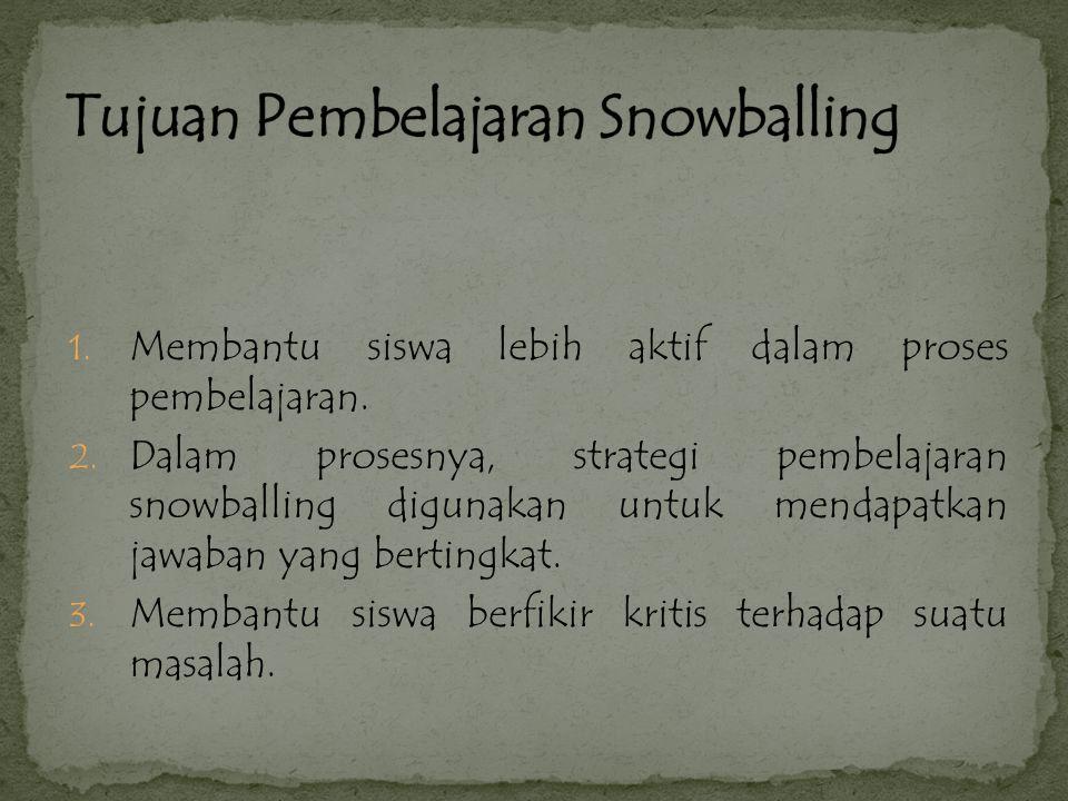 Menurut Hisyman Zaini,dkk (2008: 58-59), Langkah-langkah dalam strategi pembelajaran snowballing yaitu: 1.