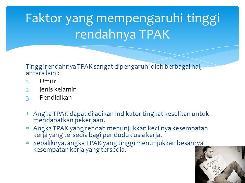 Tinggi rendahnya TPAK sangat dipengaruhi oleh berbagai hal, antara lain : 1.Umur 2.jenis kelamin 3.Pendidikan  Angka TPAK dapat dijadikan indikator tingkat kesulitan untuk mendapatkan pekerjaan.