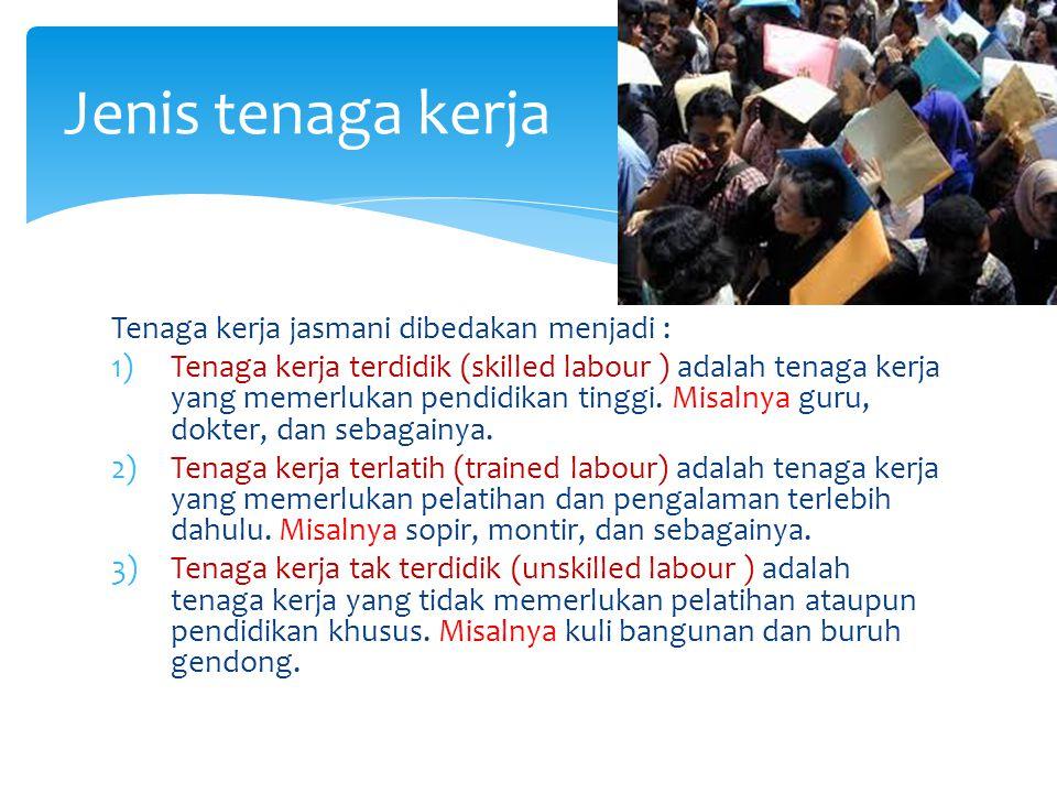 Tenaga kerja jasmani dibedakan menjadi : 1)Tenaga kerja terdidik (skilled labour ) adalah tenaga kerja yang memerlukan pendidikan tinggi.