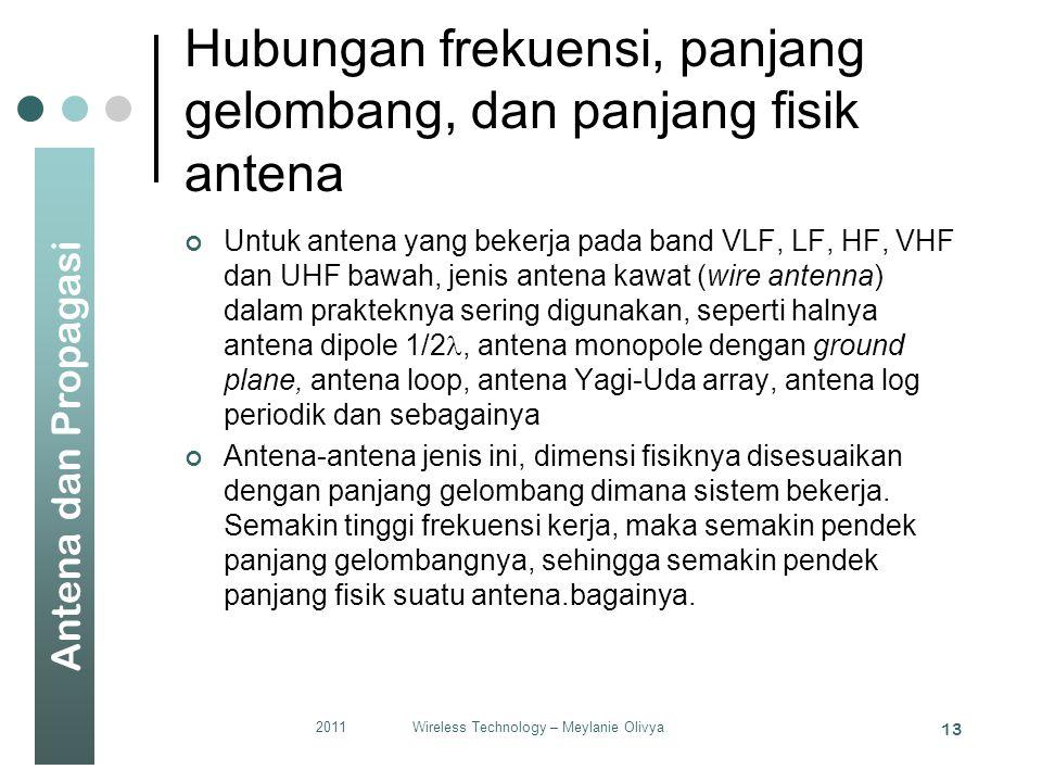 Antena dan Propagasi Hubungan frekuensi, panjang gelombang, dan panjang fisik antena Untuk antena yang bekerja pada band VLF, LF, HF, VHF dan UHF bawah, jenis antena kawat (wire antenna) dalam prakteknya sering digunakan, seperti halnya antena dipole 1/2 , antena monopole dengan ground plane, antena loop, antena Yagi-Uda array, antena log periodik dan sebagainya Antena-antena jenis ini, dimensi fisiknya disesuaikan dengan panjang gelombang dimana sistem bekerja.