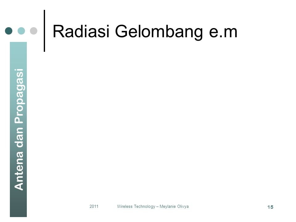 Antena dan Propagasi Radiasi Gelombang e.m 2011Wireless Technology – Meylanie Olivya 15