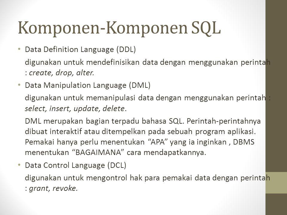 Komponen-Komponen SQL • Data Definition Language (DDL) digunakan untuk mendefinisikan data dengan menggunakan perintah : create, drop, alter. • Data M