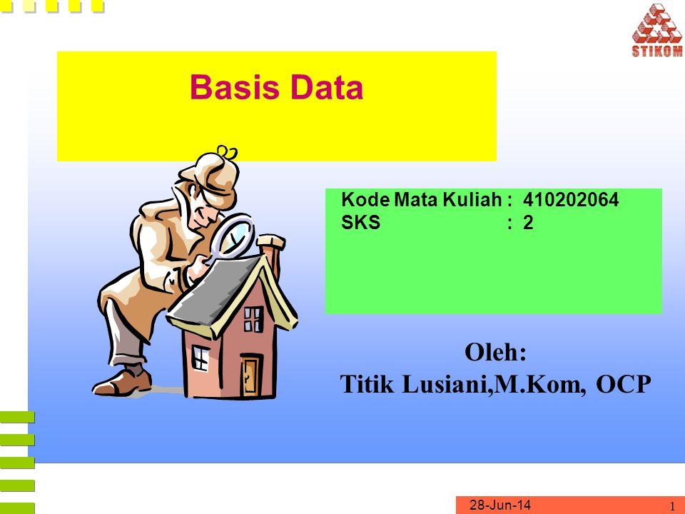 28-Jun-14 1 Basis Data Kode Mata Kuliah : 410202064 SKS : 2 Oleh: Titik Lusiani,M.Kom, OCP