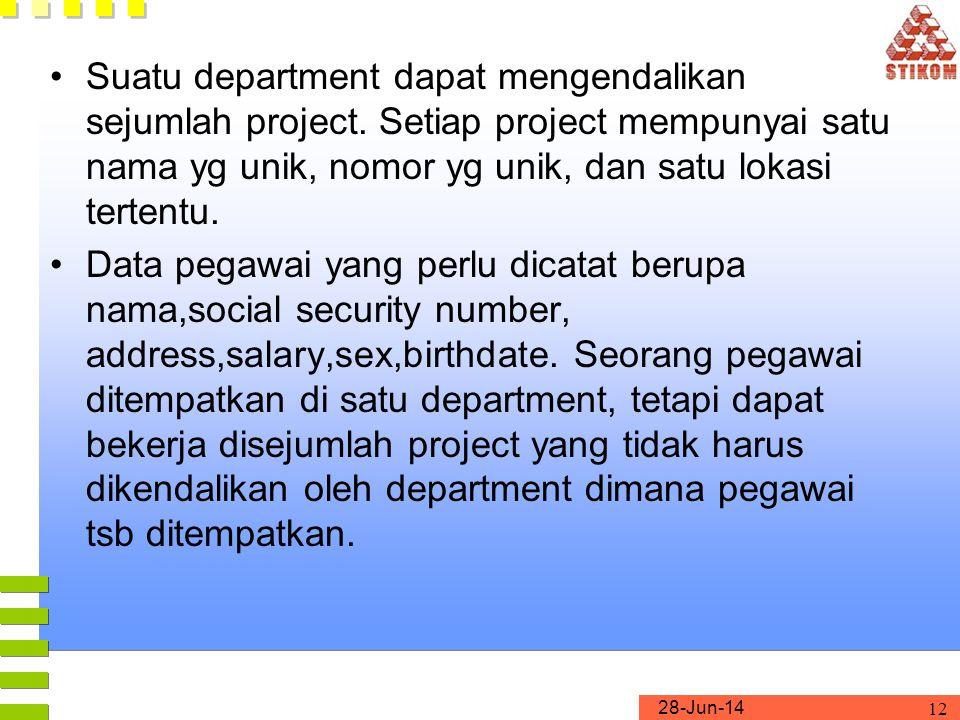 28-Jun-14 12 •Suatu department dapat mengendalikan sejumlah project.
