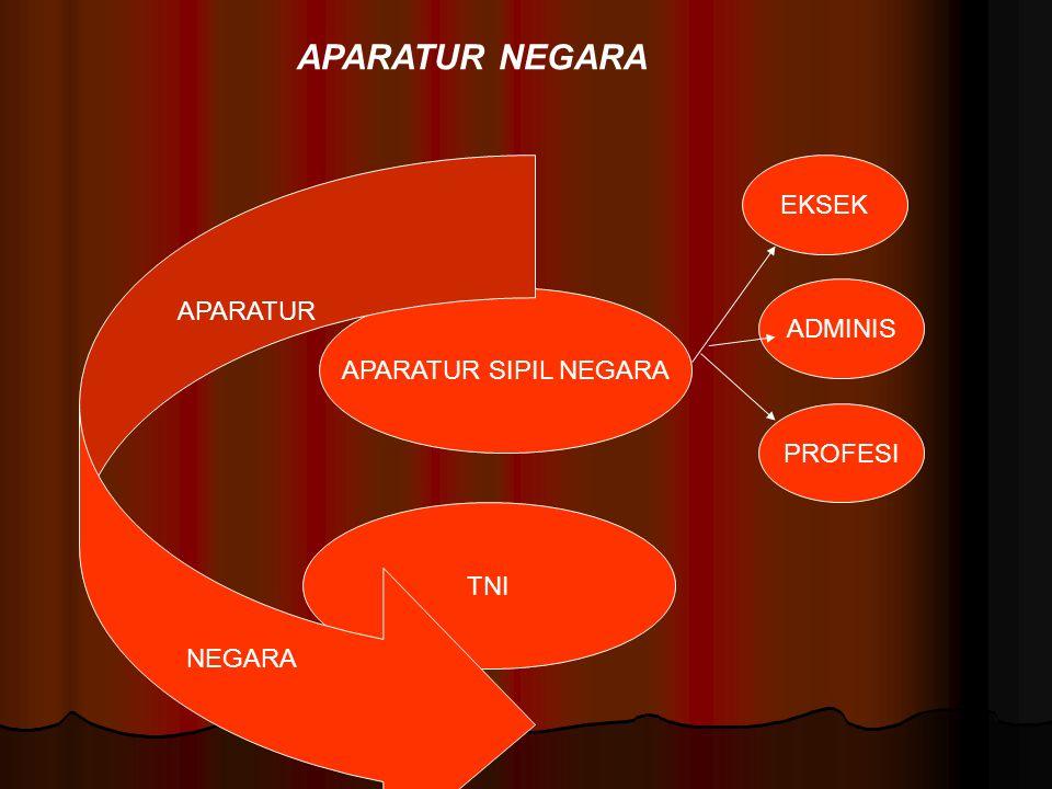 APARATUR SIPIL NEGARA TNI APARATUR NEGARA EKSEK ADMINIS PROFESI APARATUR NEGARA