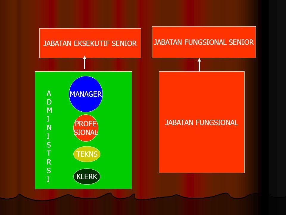 JABATAN EKSEKUTIF SENIOR JABATAN FUNGSIONAL SENIOR JABATAN FUNGSIONAL MANAGER PROFE SIONAL TEKNS KLERK ADMINISTRSIADMINISTRSI