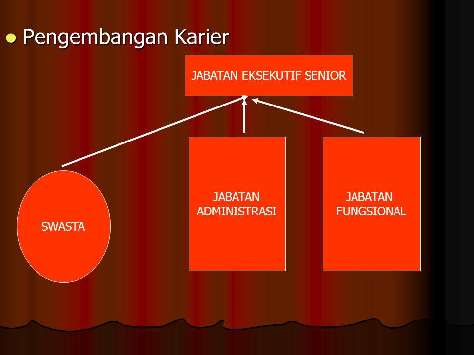  Pengembangan Karier JABATAN EKSEKUTIF SENIOR SWASTA JABATAN FUNGSIONAL JABATAN ADMINISTRASI