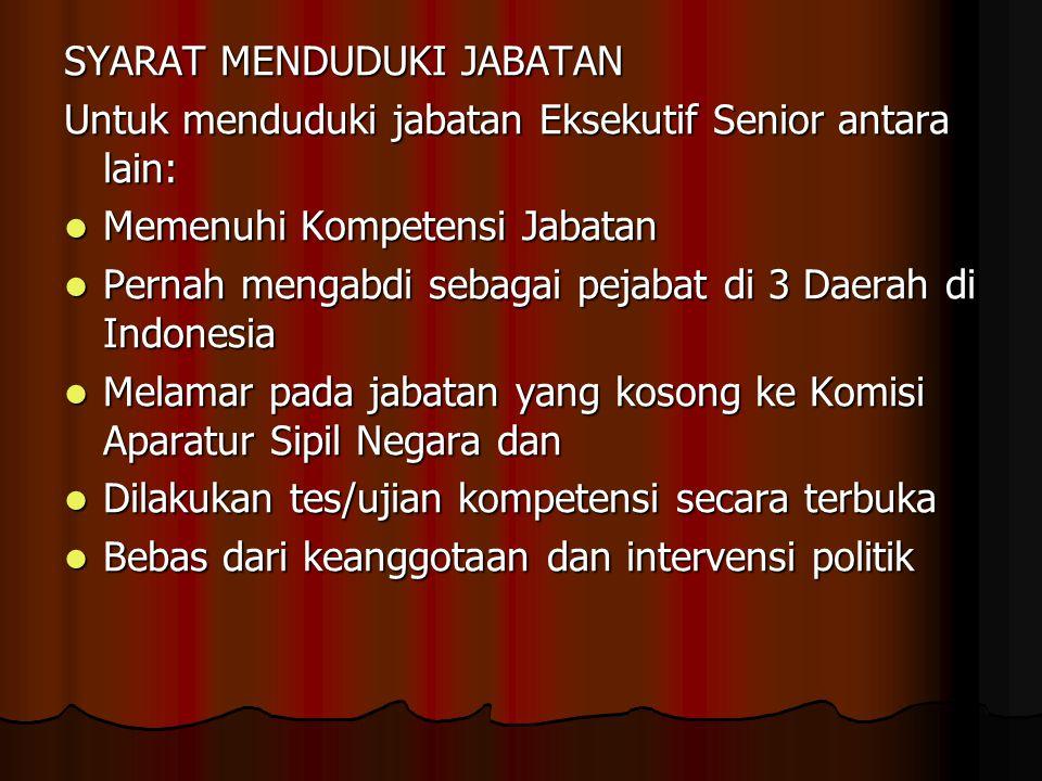 SYARAT MENDUDUKI JABATAN Untuk menduduki jabatan Eksekutif Senior antara lain:  Memenuhi Kompetensi Jabatan  Pernah mengabdi sebagai pejabat di 3 Da