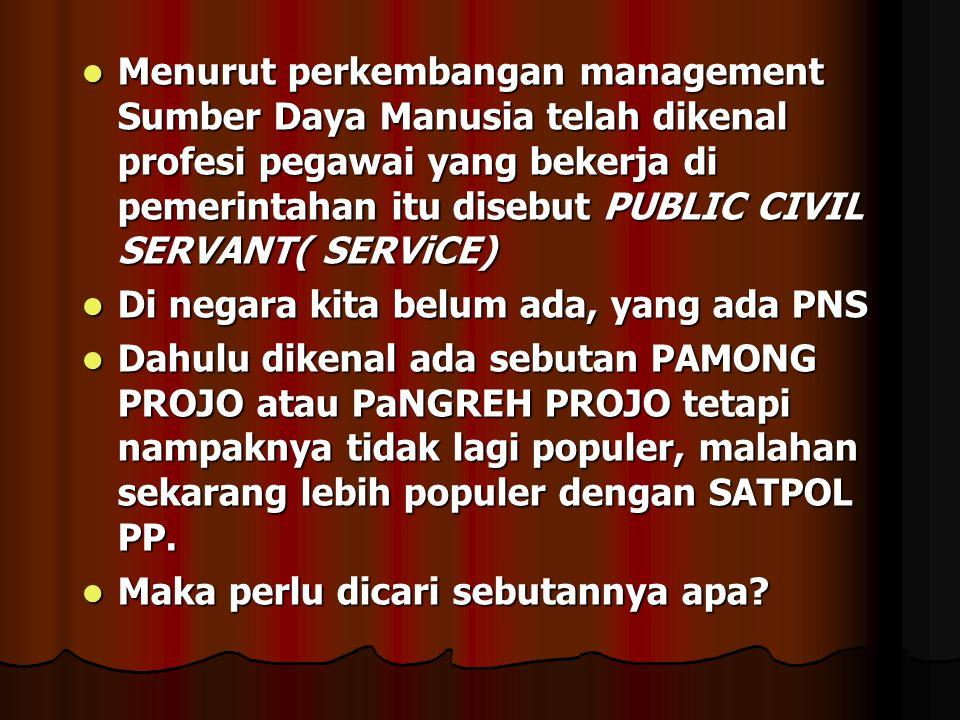  Menurut perkembangan management Sumber Daya Manusia telah dikenal profesi pegawai yang bekerja di pemerintahan itu disebut PUBLIC CIVIL SERVANT( SER