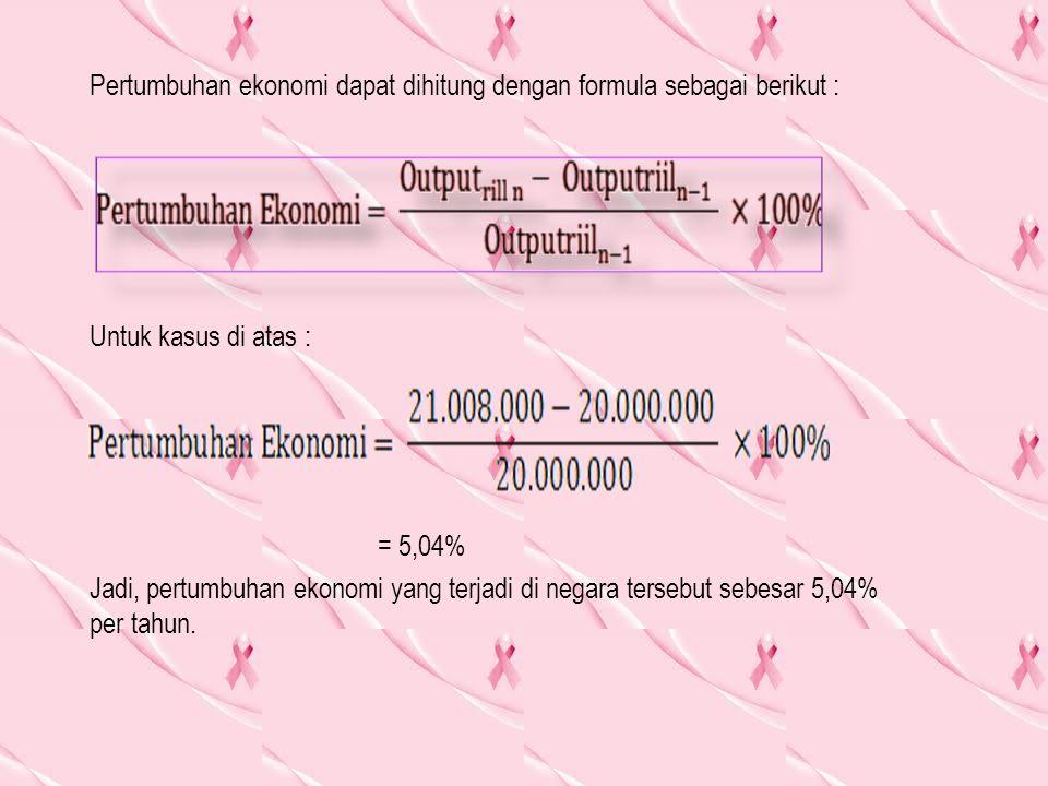 Pertumbuhan ekonomi dapat dihitung dengan formula sebagai berikut : Untuk kasus di atas : = 5,04% Jadi, pertumbuhan ekonomi yang terjadi di negara tersebut sebesar 5,04% per tahun.
