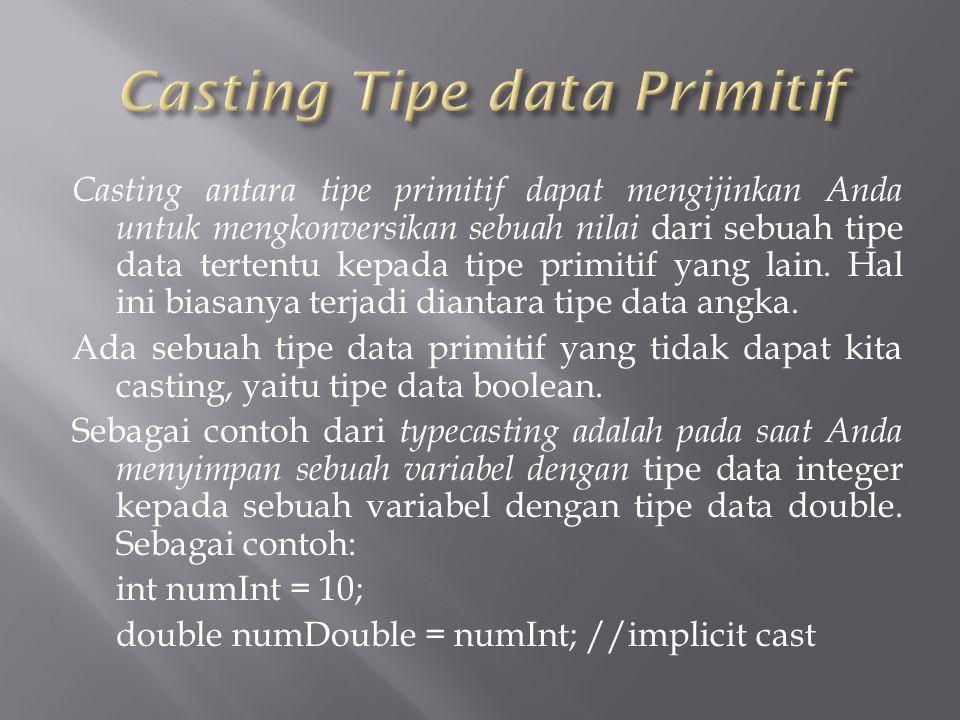 Casting antara tipe primitif dapat mengijinkan Anda untuk mengkonversikan sebuah nilai dari sebuah tipe data tertentu kepada tipe primitif yang lain.