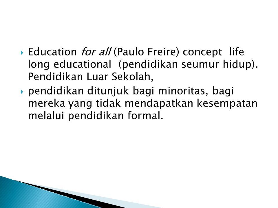  Education for all (Paulo Freire) concept life long educational (pendidikan seumur hidup).