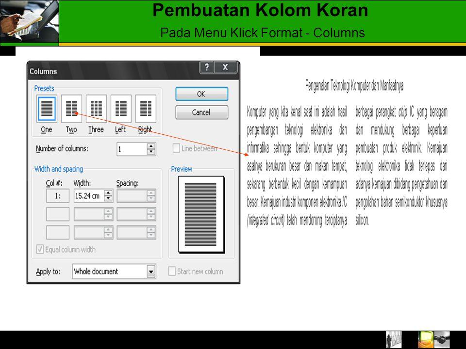 Pembuatan Kolom Koran Pada Menu Klick Format - Columns
