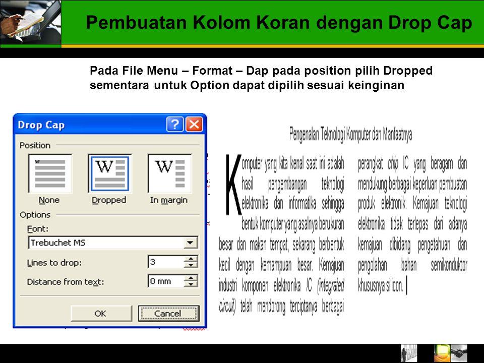 Pembuatan Kolom Koran dengan Drop Cap Pada File Menu – Format – Dap pada position pilih Dropped sementara untuk Option dapat dipilih sesuai keinginan