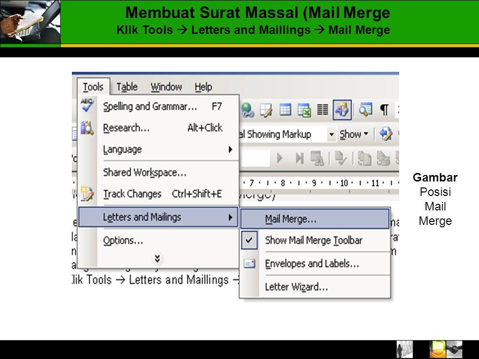 Membuat Surat Massal (Mail Merge Klik Tools  Letters and Maillings  Mail Merge Gambar Posisi Mail Merge