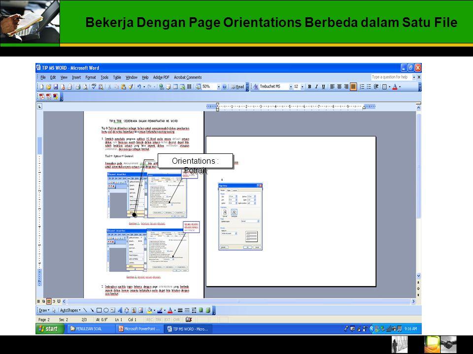 Klik Toolbar menu pilih Insert  Break  Pada Break Type pilih Page break dan pada Section break types pilih Next page Pilih Next Page