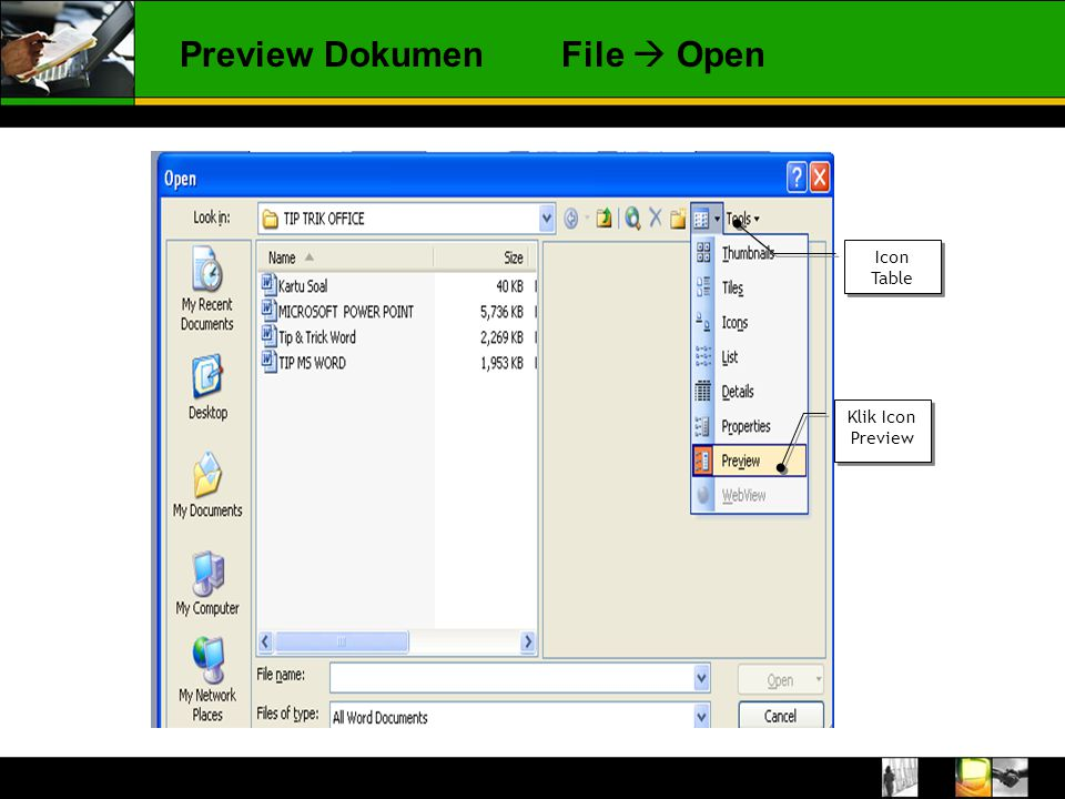Preview DokumenFile  Open Icon Table Klik Icon Preview