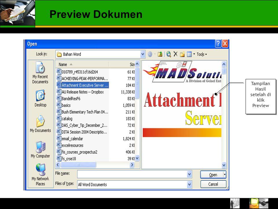 Tampilan Hasil setelah di klik Preview Preview Dokumen