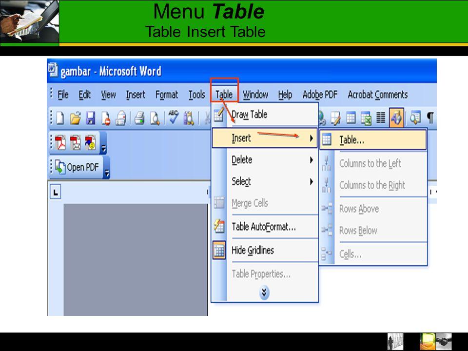 Insert – table, pada layar monitor akan muncul menu berikut Kolom Baris