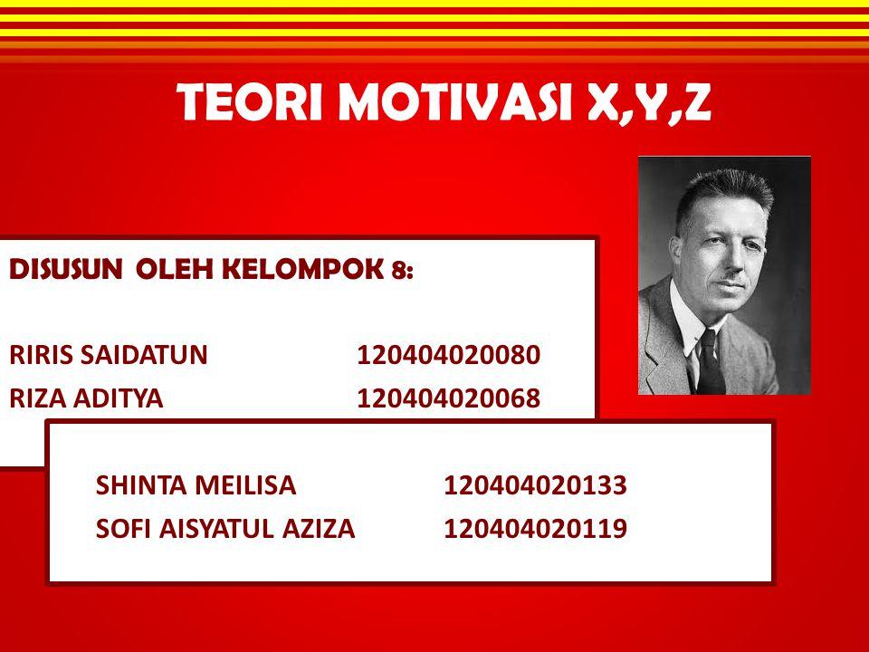 TEORI MOTIVASI X,Y,Z DISUSUN OLEH KELOMPOK 8: RIRIS SAIDATUN 120404020080 RIZA ADITYA 120404020068 SHINTA MEILISA 120404020133 SOFI AISYATUL AZIZA1204