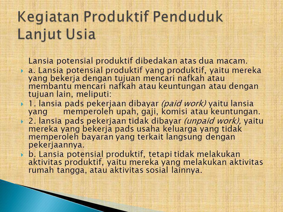 Lansia potensial produktif dibedakan atas dua macam.  a. Lansia potensial produktif yang produktif, yaitu mereka yang bekerja dengan tujuan mencari n