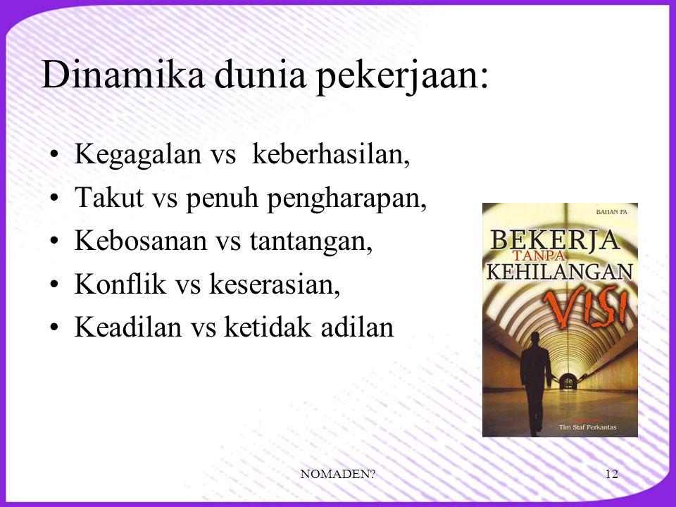 Dinamika dunia pekerjaan: •Kegagalan vs keberhasilan, •Takut vs penuh pengharapan, •Kebosanan vs tantangan, •Konflik vs keserasian, •Keadilan vs ketid