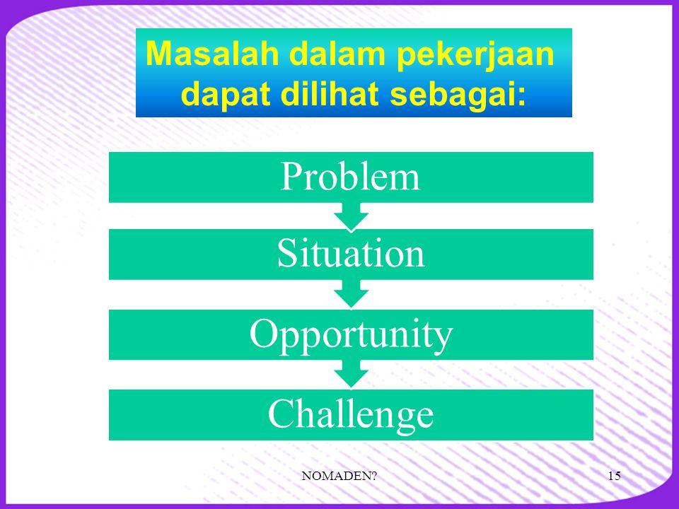 Challenge Opportunity Situation Problem Masalah dalam pekerjaan dapat dilihat sebagai: 15NOMADEN?