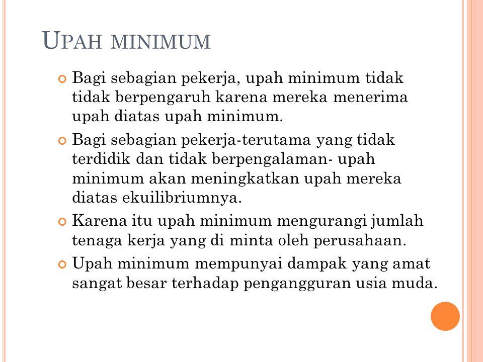 U PAH MINIMUM Bagi sebagian pekerja, upah minimum tidak tidak berpengaruh karena mereka menerima upah diatas upah minimum. Bagi sebagian pekerja-terut