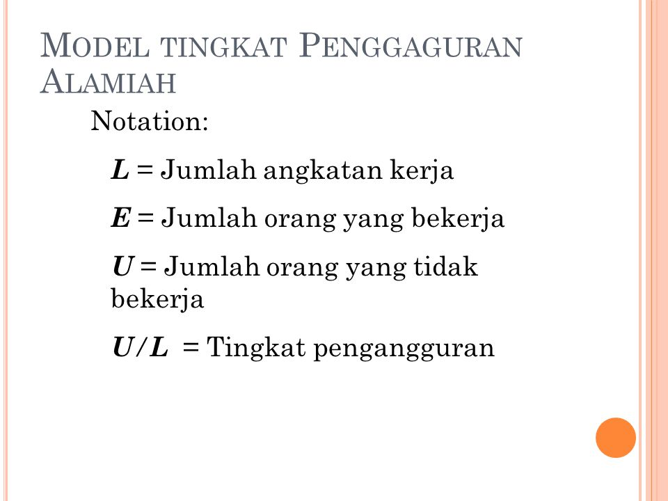 M ODEL TINGKAT P ENGGAGURAN A LAMIAH Notation: L = Jumlah angkatan kerja E = Jumlah orang yang bekerja U = Jumlah orang yang tidak bekerja U / L = Tin