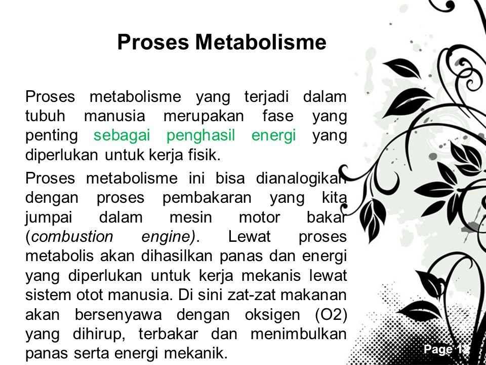 Page 12 Proses Metabolisme •Proses metabolisme yang terjadi dalam tubuh manusia merupakan fase yang penting sebagai penghasil energi yang diperlukan u