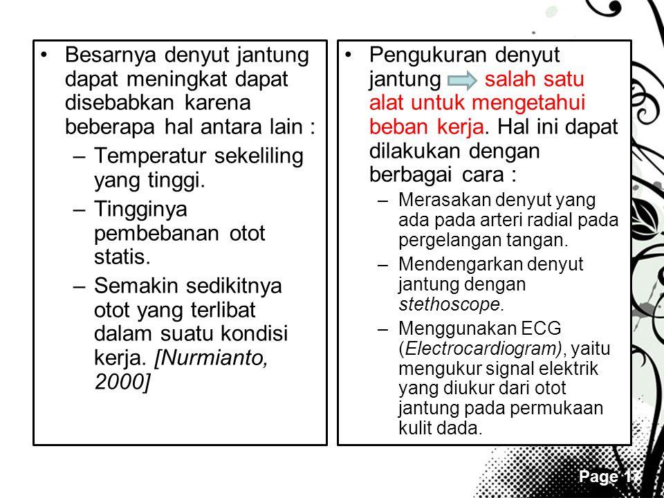Page 17 •Besarnya denyut jantung dapat meningkat dapat disebabkan karena beberapa hal antara lain : –Temperatur sekeliling yang tinggi. –Tingginya pem