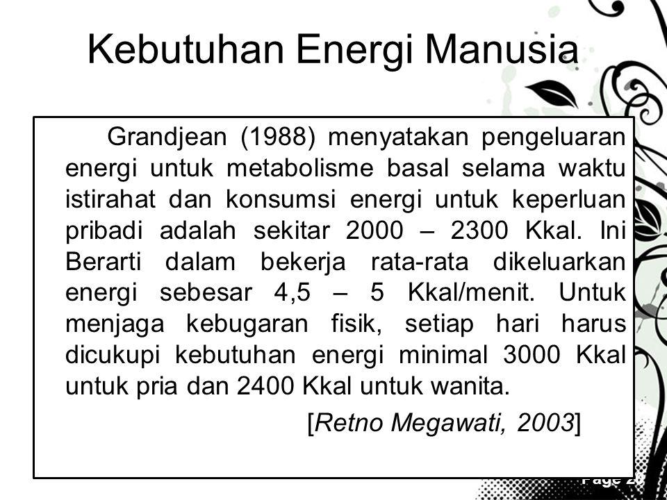 Page 20 Kebutuhan Energi Manusia Grandjean (1988) menyatakan pengeluaran energi untuk metabolisme basal selama waktu istirahat dan konsumsi energi unt