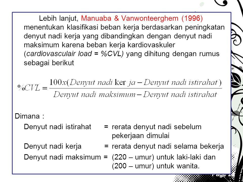 Page 24 Lebih lanjut, Manuaba & Vanwonteerghem (1996) menentukan klasifikasi beban kerja berdasarkan peningkatan denyut nadi kerja yang dibandingkan d