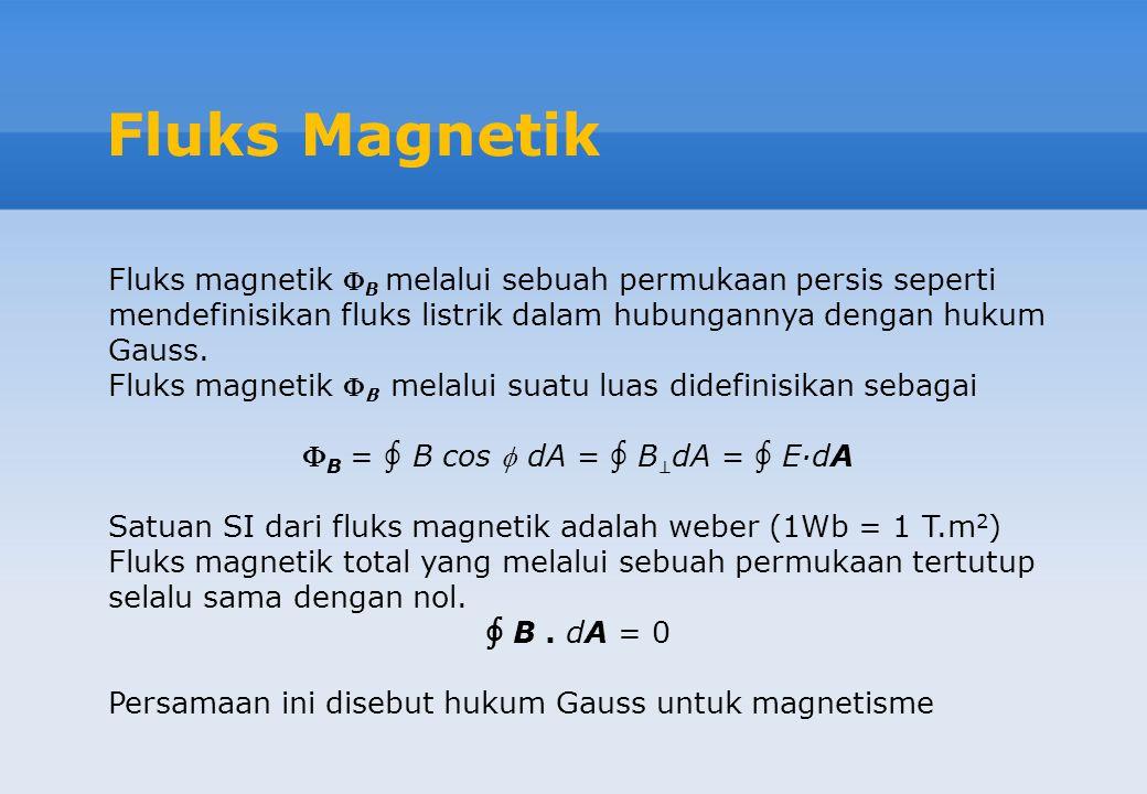 Fluks Magnetik Fluks magnetik  B melalui sebuah permukaan persis seperti mendefinisikan fluks listrik dalam hubungannya dengan hukum Gauss. Fluks mag