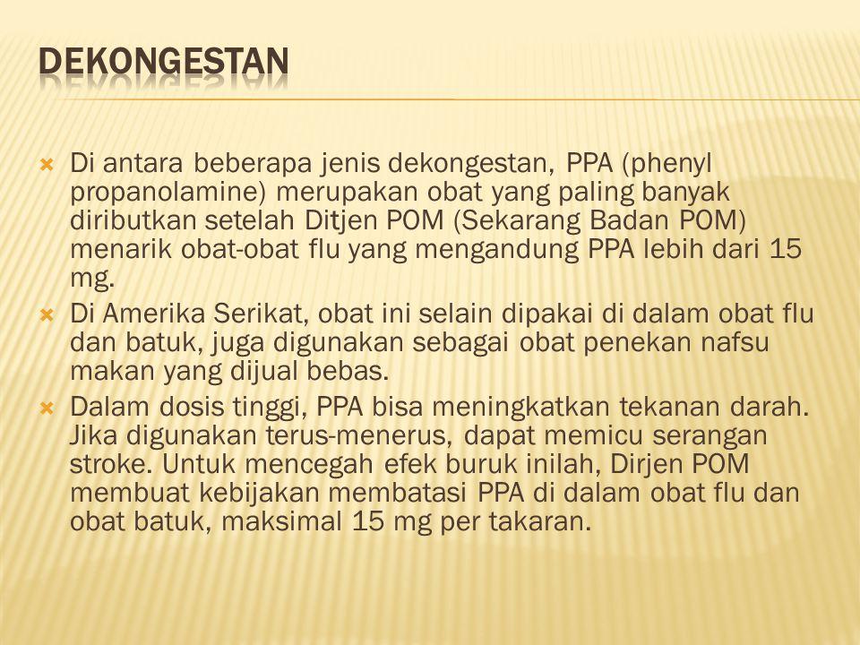  Di antara beberapa jenis dekongestan, PPA (phenyl propanolamine) merupakan obat yang paling banyak diributkan setelah Ditjen POM (Sekarang Badan POM) menarik obat-obat flu yang mengandung PPA lebih dari 15 mg.