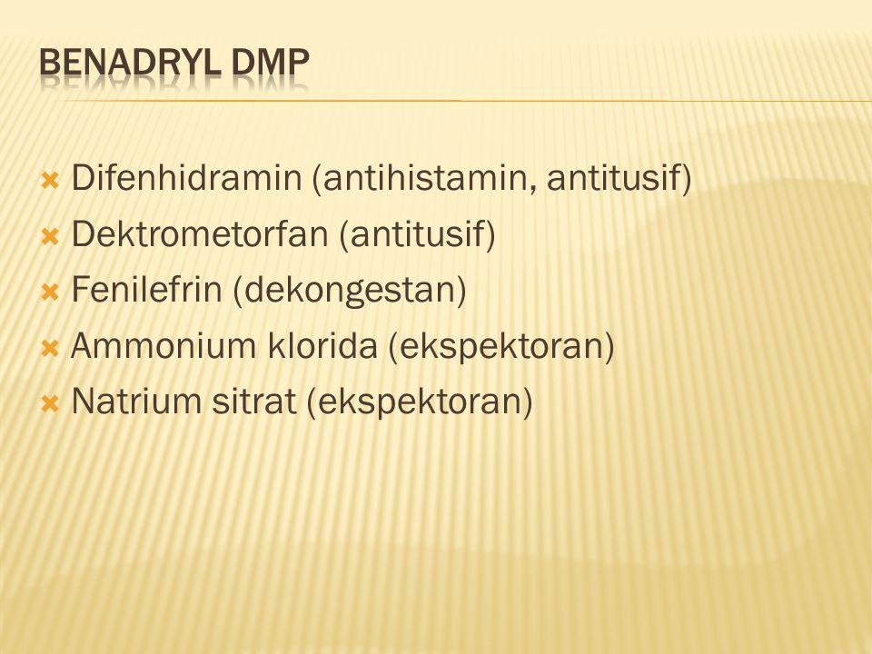  Difenhidramin (antihistamin, antitusif)  Dektrometorfan (antitusif)  Fenilefrin (dekongestan)  Ammonium klorida (ekspektoran)  Natrium sitrat (ekspektoran)