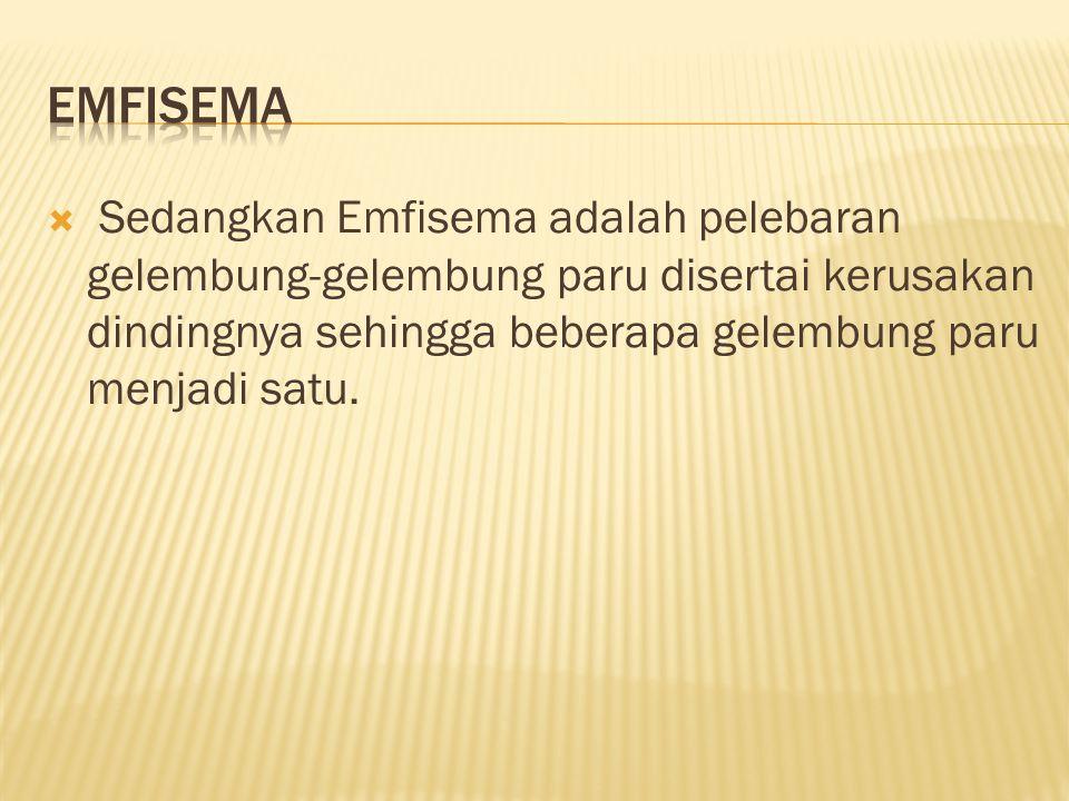  Sedangkan Emfisema adalah pelebaran gelembung-gelembung paru disertai kerusakan dindingnya sehingga beberapa gelembung paru menjadi satu.
