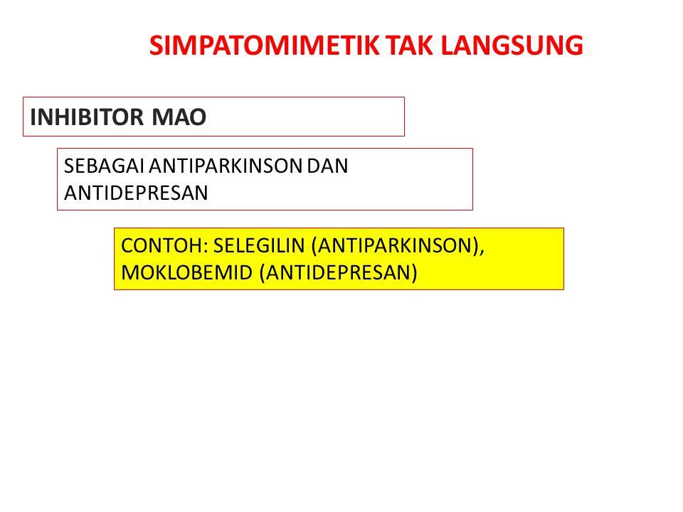 SIMPATOMIMETIK TAK LANGSUNG INHIBITOR MAO SEBAGAI ANTIPARKINSON DAN ANTIDEPRESAN CONTOH: SELEGILIN (ANTIPARKINSON), MOKLOBEMID (ANTIDEPRESAN)