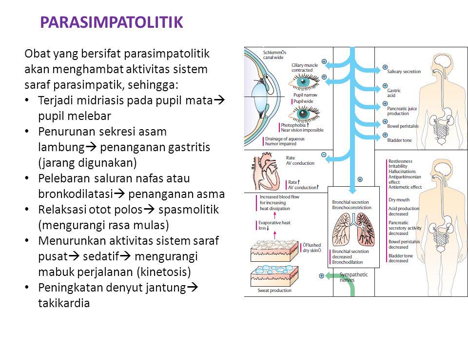 PARASIMPATOLITIK Obat yang bersifat parasimpatolitik akan menghambat aktivitas sistem saraf parasimpatik, sehingga: • Terjadi midriasis pada pupil mat