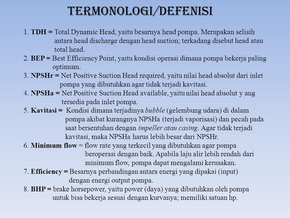 Termonologi/Defenisi 1. TDH = Total Dynamic Head, yaitu besarnya head pompa. Merupakan selisih antara head discharge dengan head suction; terkadang di