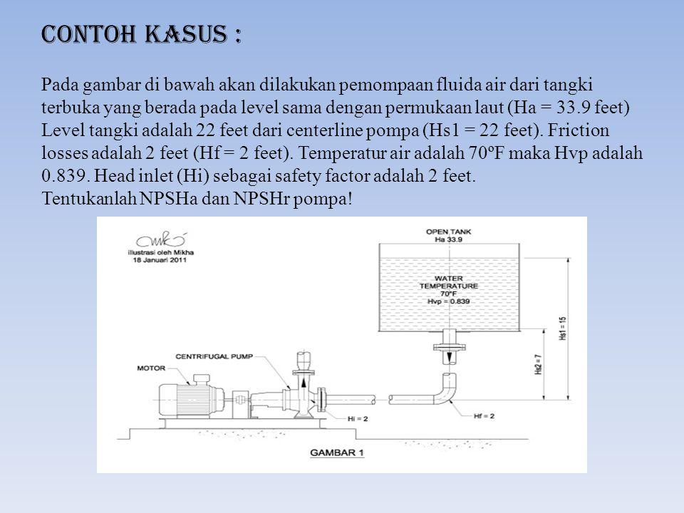 Penyelesaian : NPSHa = Ha + Hs1 – Hvp – Hf – Hi = 33.9 + 22 – 0.839 – 2 – 2 = 51.061 feet Diketahui bahwa tujuan pemompaan adalah untuk mengeluarkan fluida air dari tangki, maka kita harus mempertimbangkan tinggi terendah fluida air dalam tangki dari center line pompa saat pemompaan (Hs2) yaitu 7 feet.